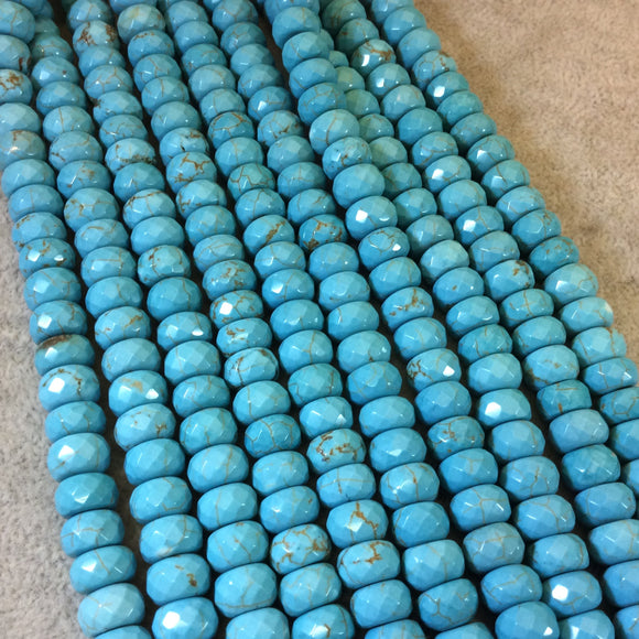 6mm x 10mm Faceted Synthetic Turquoise Rondelle Shaped Beads with 1mm Holes - 16
