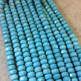 "6mm x 10mm Faceted Synthetic Turquoise Rondelle Shaped Beads with 1mm Holes - 16"" Strand (Approx. 66 Beads) - Synthetic Faux Gemstone"