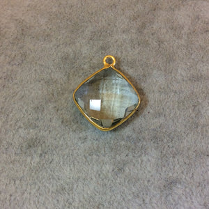 Gold Pale Faceted Pale Green Hydro (Lab Created) Quartz Diamond Shaped Bezel Pendant - Measuring 15mm x 15mm - Sold Individually