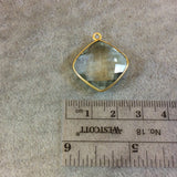 Gold Plated Faceted Pale Green Hydro (Lab Created) Quartz Diamond Shaped Bezel Pendant - Measuring 18mm x 18mm - Sold Individually