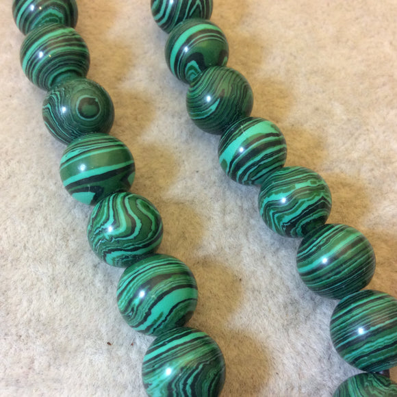 12mm Synthetic Malachite (Manmade) Smooth Finish Round/Ball Beads with 2.5mm Holes - 7.75