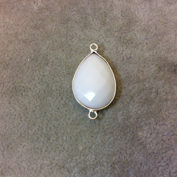 Silver Plated Faceted White Hydro (Lab Created) Chalcedony Pear/Teardrop Shaped Bezel Connector - Measuring 18mm x 25mm - Sold Individually