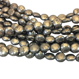 "10mm Smooth Round/Coin Shaped Natural Metallic Pyrite Beads with 1mm Holes - 15.25"" Strand (Approx. 38 Beads) - Semi-Precious Gemstone Beads"