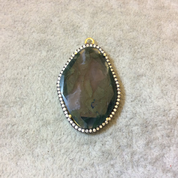 Gold Finish CZ Cubic Zirconia Rimmed Faceted Natural Moss Agate Freeform Oval Shape Bezel Pendant - Measures 24mm x 34mm