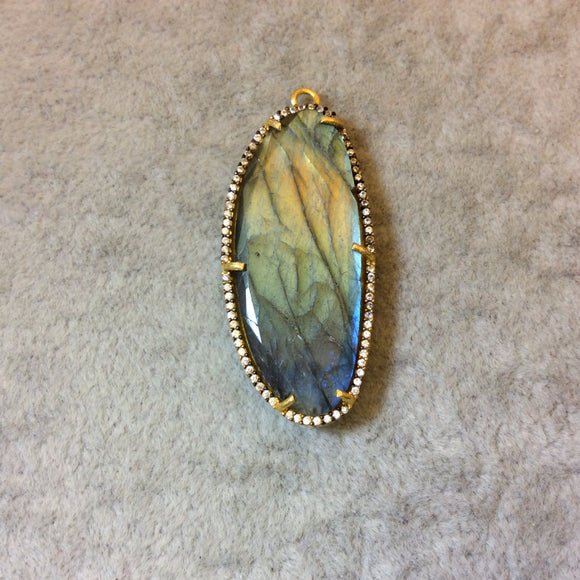 Gold Finish CZ Cubic Zirconia Rimmed Faceted Iridescent Labradorite Long Oval Shape Bezel Pendant - Measures 29mm x 43mm - Sold Individually