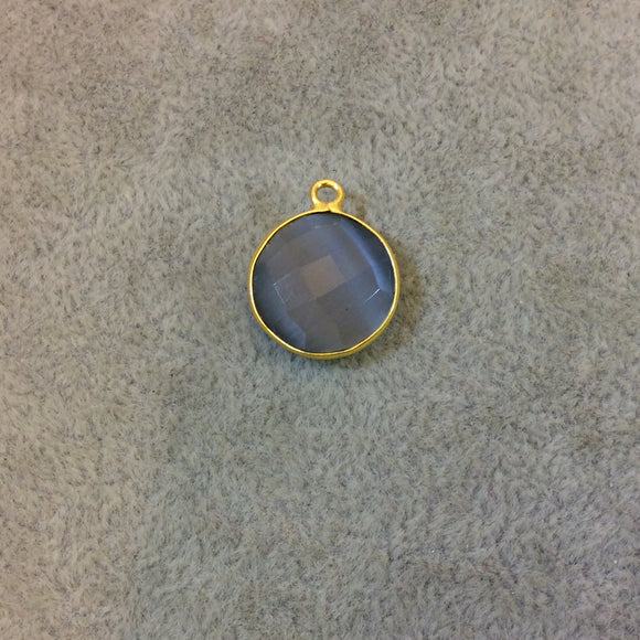 Gold Plated Faceted Synthetic Gray Cat's Eye (Manmade Glass) Round/Coin Shaped Bezel Pendant - Measuring 15mm x 15mm - Sold Individually