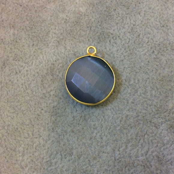Gold Plated Faceted Synthetic Gray Cat's Eye (Manmade Glass) Round/Coin Shaped Bezel Pendant - Measuring 18mm x 18mm - Sold Individually