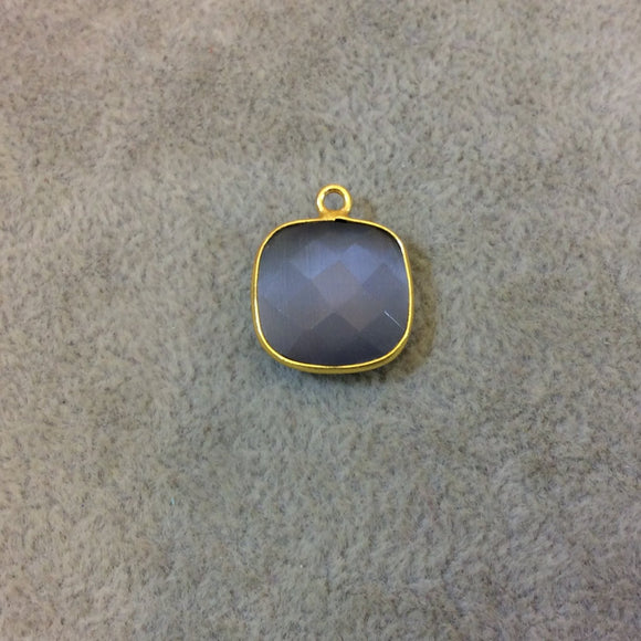Gold Plated Faceted Synthetic Gray Cat's Eye (Manmade Glass) Square Shaped Bezel Pendant - Measuring 15mm x 15mm - Sold Individually