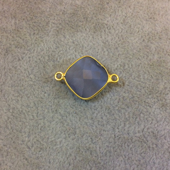 Gold Plated Faceted Synthetic Gray Cat's Eye (Manmade Glass) Diamond Shaped Bezel Connector - Measuring 15mm x 15mm - Sold Individually