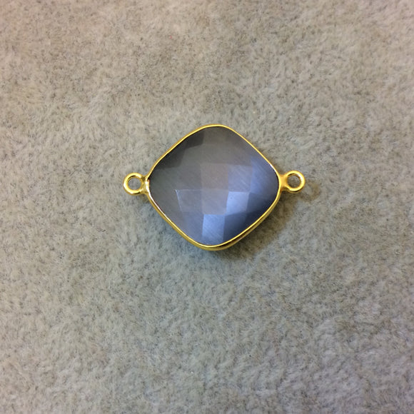 Gold Plated Faceted Synthetic Gray Cat's Eye (Manmade Glass) Diamond Shaped Bezel Connector - Measuring 18mm x 18mm - Sold Individually