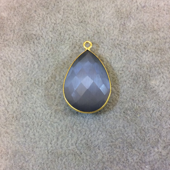 Gold Plated Faceted Synthetic Gray Cat's Eye (Manmade Glass) Pear/Teardrop Shaped Bezel Pendant - Measuring 18mm x 25mm - Sold Individually