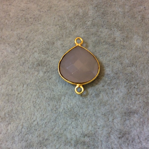 Gold Plated Faceted Nude Hydro (Lab Created) Chalcedony Heart/Teardrop Shaped Bezel Connector - Measuring 15mm x 15mm - Sold Individually