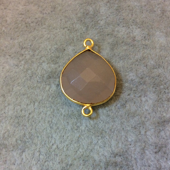 Gold Plated Faceted Nude Hydro (Lab Created) Chalcedony Heart/Teardrop Shaped Bezel Connector - Measuring 18mm x 18mm - Sold Individually