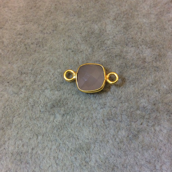 Gold Plated Faceted Nude Hydro (Lab Created) Chalcedony Square Shaped Bezel Connector - Measuring 8mm x 8mm - Sold Individually