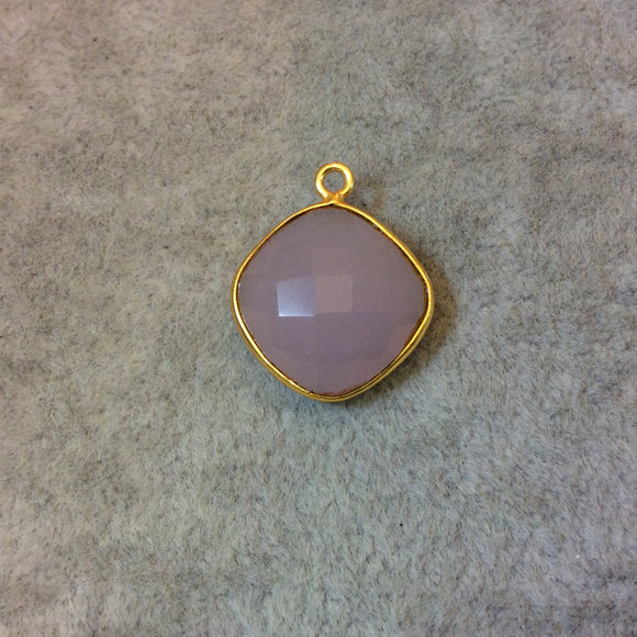 Gold Plated Faceted Nude Hydro (Lab Created) Chalcedony Diamond Shaped Bezel Pendant - Measuring 15mm x 15mm - Sold Individually