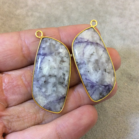 One Pair of OOAK Gold Finish Faceted Mystery Stone Freeform/Petal Shaped Bezel Pendant