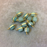 8mm Gold Finish Faceted Natural Minty Green/Blue Amazonite Cube/Square Shaped Plated Copper Bezel Connector/Link - Sold Individually, Random