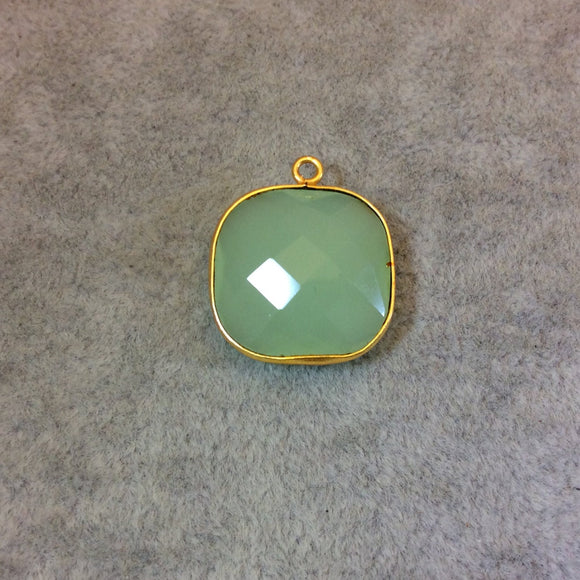 Gold Plated Faceted Pale Mint Hydro (Lab Created) Chalcedony Square Shaped Bezel Pendant - Measuring 18mm x 18mm - Sold Individually