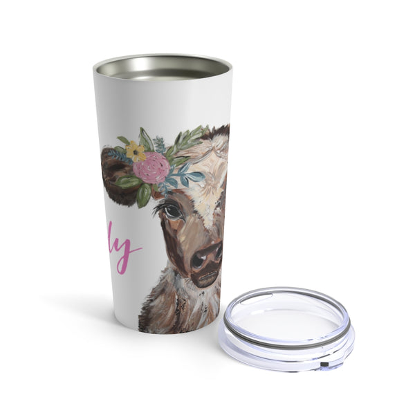 Cow. Tumbler 20oz. White BG. Personalized.