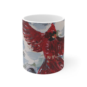 Cardinal in Flight. White Ceramic Mug in 2 sizes. Personalized.