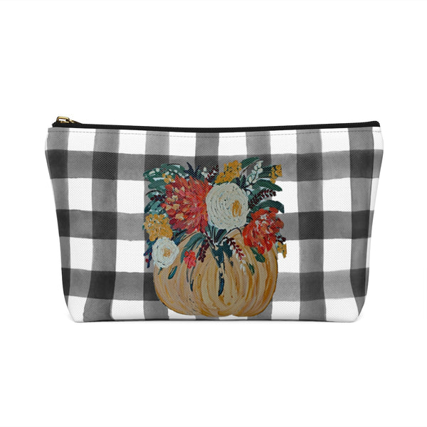 Accessory Pouch w T-bottom. Fall Floral Pumpkin