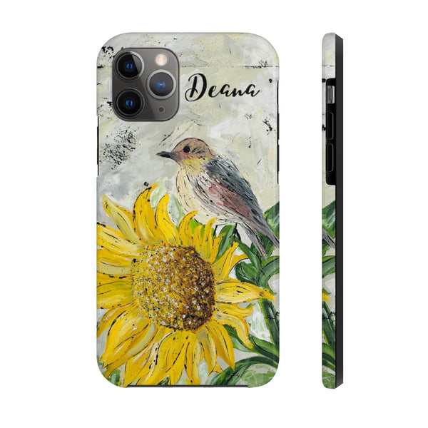Sunflower Perch. Personalized. Case Mate Tough Phone Cases