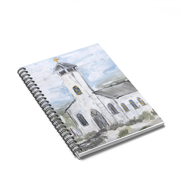 Spiral Notebook - White Church - Ruled Line - Gin's Den