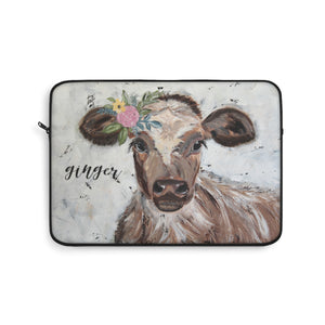 Laptop Sleeve. Cow.  Personalized