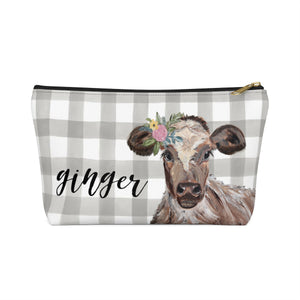 Accessory Pouch w T-bottom. Cow. Personalized.