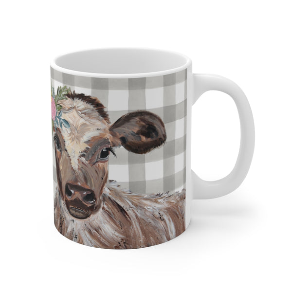 Cow Print on White Ceramic Mug. Personalized
