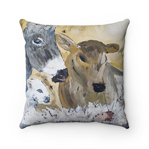 Barn Animal Nativity. Spun Polyester Square Pillow With or Without Insert.