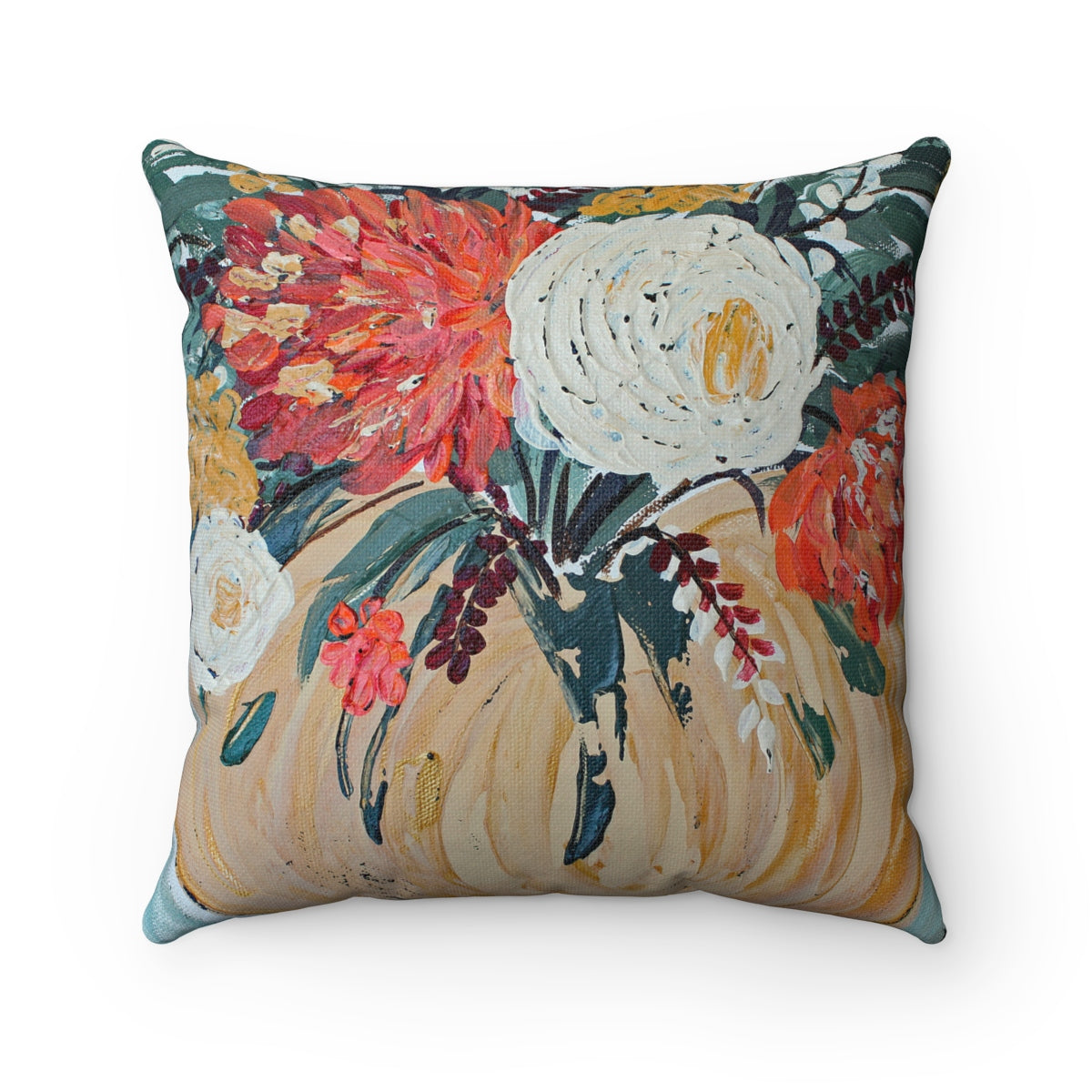 Fall Floral Pumpkin. Spun Polyester Square Pillow with or without case