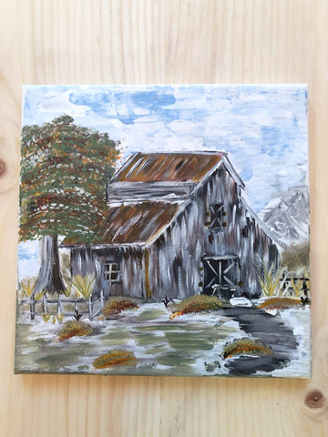 Old Barn Painting| Original Hand painted - Gin's Den
