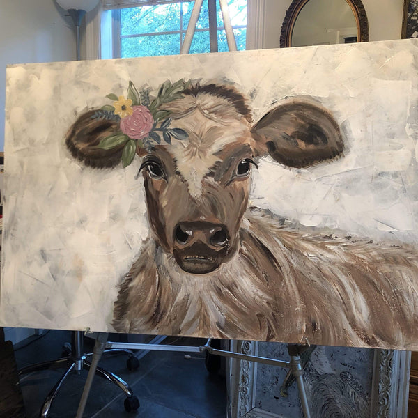 Original Cow Painting. Textured Acrylic Painting on Canvas - Gin's Den