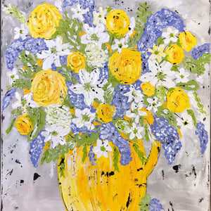 Original. Yellow and Periwinkle Floral Original - Gin's Den