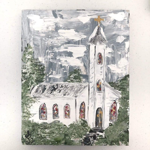 Peace On Earth. White Church Painting. - Gin's Den