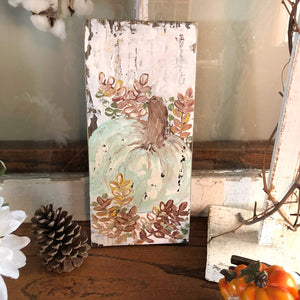 Thanksgiving painting on wood, Mint Pumpkin - Gin's Den