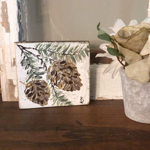 Thanksgiving Shelf Sitter Christmas Decor, Pinecone Painting - Gin's Den