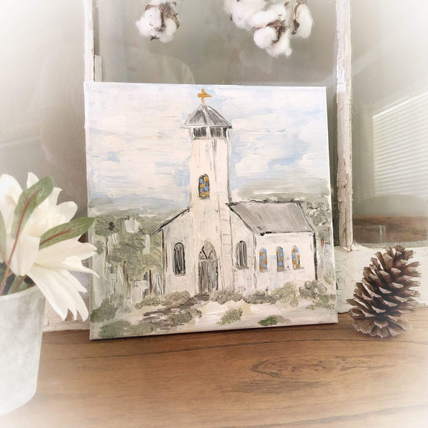 White Church Painting - Gin's Den