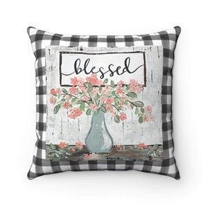 Gin's Den Pillows Blessed Square Pillow with Black and White Checkered background