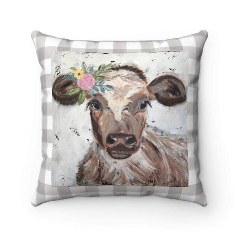 Gin's Den Pillows Cow Pillow. Spun Polyester Square Pillow With or Without Insert