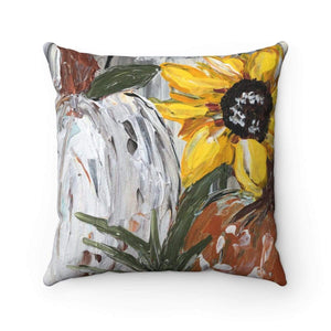 Fall Sunflower Pillow Buffalo Check Back Square Pillow - Gin's Den