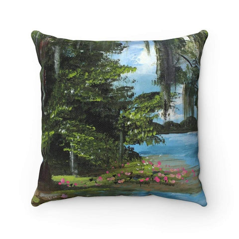 Gin's Den Pillows Lake at Noon. Spun Polyester Square Pillow Case. With or Without Insert. Decorative Accent Pillow.