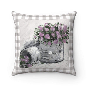 Gin's Den Pillows Purple Floral Checker Spun Polyester Square Pillow. With or Without Pillow Insert. Decorative Pillow.
