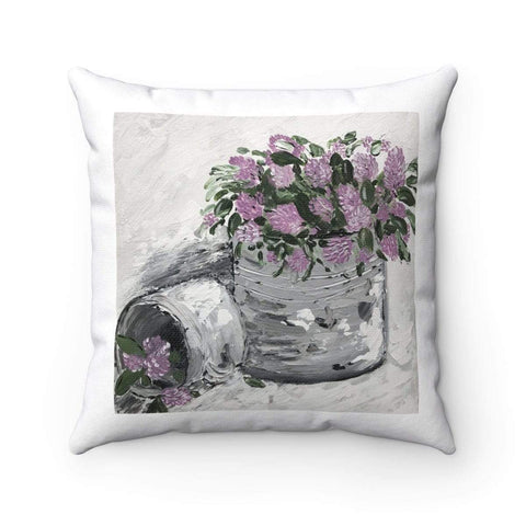 Purple Floral Spun Polyester Square Pillow. With or Without Insert. - Gin's Den