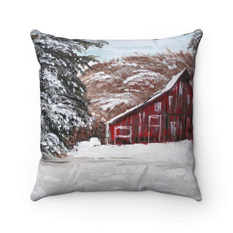 Gin's Den Pillows Red Barn in Winter Spun Polyester Square Pillow. With or Without Pillow Insert.