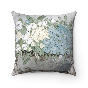 Spun Polyester Square Pillow. Country floral. With or Without Pillow Insert. - Gin's Den