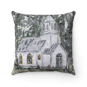 Spun Polyester Square Pillow. Mountainside Church Print. With or Without Pillow Insert. - Gin's Den