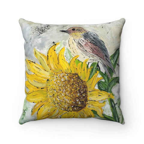 Spun Polyester Square Pillow. Sunflower Perch. With or Without Pillow Insert. - Gin's Den