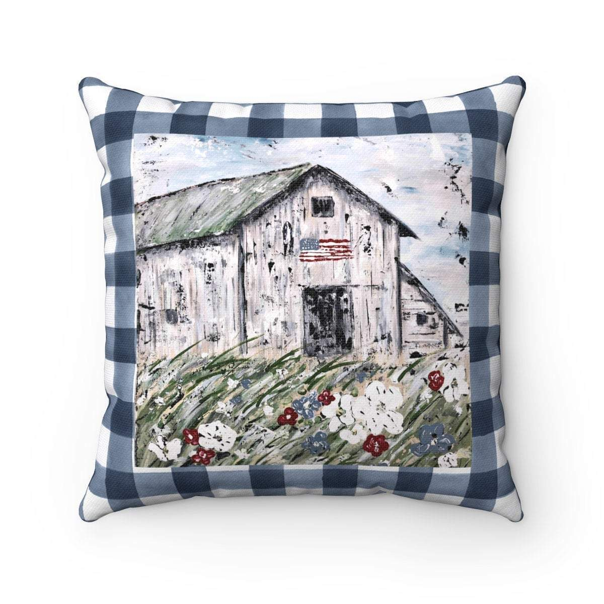 USA Barn. Spun Polyester Square Pillow. With or Without Pillow Insert. - Gin's Den